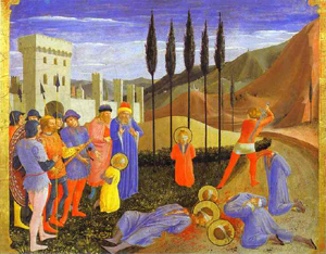 Fra Angelico's San Marco Altarpiece: Beheading of Cosmas and Damian (Louvre, c. 1440)