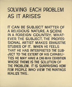 John Baldessari's Solving Each Problem As It Arises (Yale University Art Gallery, 1967)
