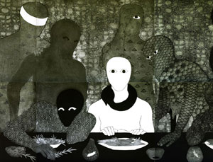 detail of Belkis Ayón's La Cena (The Supper) (estate of the artist, 1991)