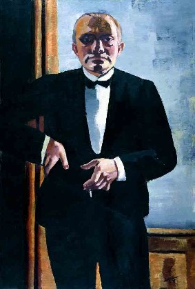 Max Beckmann's Self-Portrait in Tuxedo (Busch-Reisinger Museum, Harvard, photo by Katya Kallsen, 1927)