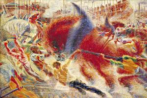 Umberto Boccioni's The City Rises (Mrs. Simon Guggenheim Fund, Museum of Modern Art, 1910-1911)