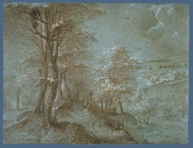 Bruegel's Wooded Landscape with a Distant View Toward the Sea (Fogg Art Museum, 1554)
