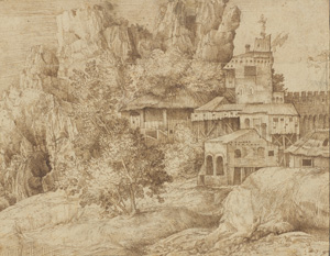 Giulio Campagnola's Buildings in a Rocky Landscape (Morgan Library, before 1515)