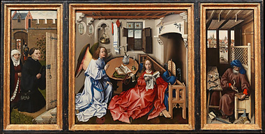 Campin's Mérode Altarpiece (Metropolitan Museum of Art at the Cloisters, c. 1426)