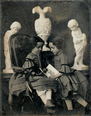 Two Girls Looking at a Picture Book (Bibliothèque Nationale de France, c. 1850-1855)