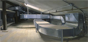Rackstraw Downes's Snug Harbor, Metal Duct Work in G Attic (private collection, 2001)