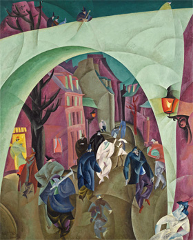 Lyonel Feininger's The Green Bridge II (North Carolina Museum of Arts/Artist's Rights Society, 1916)