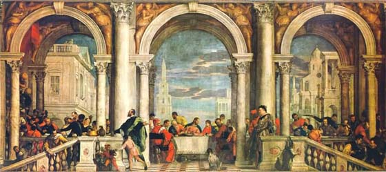 Paolo Veronese's Feast in the House of Levi (Galleria della Academia, 1573)