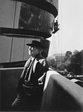 Frank Lloyd Wright at the Guggenheim (Solomon R. Guggenheim Foundation, photo by William Short, c. 1959)