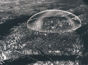 Buckminster Fuller's Dome over Manhattan (Stanford University Libraries/R. Buckminster Fuller estate, 1960)