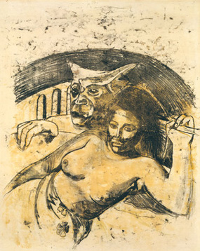 Paul Gauguin's Tahitian Woman with Evil Spirit (private collection, c. 1900)