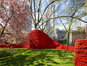 Orly Genger's Red, Yellow and Blue (photo by James Ewing, Madison Square Park Conservancy, 2013)