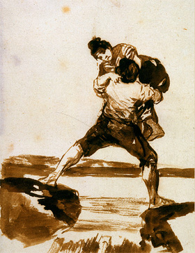 Francisco de Goya's Peasant Carrying a Woman (Hispanic Society of America, c. 1812–1820)