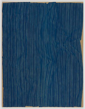 Helene Appel's Loosely Laid Out Large Blue Fabric (James Cohan, 2013)