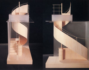 Hariri & Hariri's Möbius Strip Hybrid Stair (Nancy Hoffman gallery, 1988)