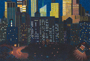 Yvonne Jacquette's Late Sun Above Madison Square Park (D. C. Moore gallery, 2012)