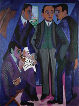 Ernst Ludwig Kirchner's A Group of Artists (The Painters of the Brücke) (Museum Ludwig, Cologne, 1926)