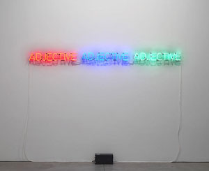 Joseph Kosuth's Three Adjectives Described (photo by Jason Wyche, Sean Kelly, 1965)