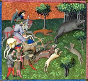 Le Livre de la Chasse, Slaying the Boar (Morgan Library, c. 1407)