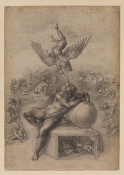 Michelangelo's The Dream (Il Sogno) (photo by the Frick Collection, Courtauld Gallery, c. 1533)