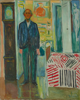 Edvard Munch's Self-Portrait: Between the Clock and the Bed (Munch Museum, Oslo, 1940–1943)