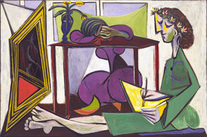 Pablo Picasso's Interior with a Girl Drawing (estate of the artist/ARS/Museum of Modern Art, 1935)