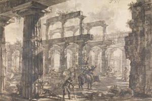 Giovanni Battista Piranesi, Temple of Neptune, Looking Southeast (Sir John Soane Museum, 1777–1778)