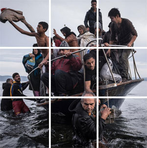 Sergey Ponomarev's Migrants Escorted to Slovenian Registration Camp (New York Times, 2015)