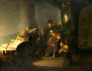 Rembrandt's Judas Returning the Thirty Pieces of Silver (photo by National Gallery, London, private collection, 1629)