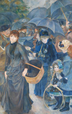 Pierre-Auguste Renoir's The Umbrellas (photo by Art Resource NY, National Gallery, London, c. 1881–1885)