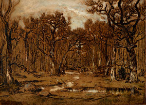 Théodore Rousseau's Study for The Forest in Winter at Sunset (private collection, c. 1846)