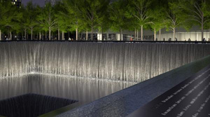 National September 11 Memorial: visualization of pool at night (Squared Design Lab, 2011)