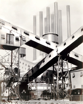 Charles Sheeler's Criss-Crossed Conveyors, River Rouge Plant (Metropolitan Museum of Art, 1927)