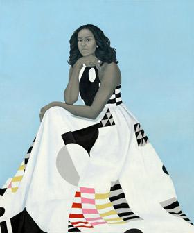 Amy Sherald's Michelle LaVaughn Robinson Obama (National Portrait Gallery, 2018)