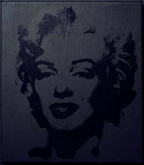 Sturtevant's Warhol Black Marilyn (photo by Anthony Reynolds Gallery, Ringier Collection, 2004)