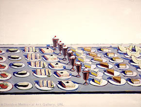 Wayne Thiebaud's Salads, Sandwiches, and Deserts (Sheldon Memorial Art Gallery and Sculpture Garden, University of Nebraska-Lincoln, 1962)