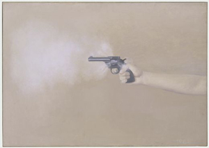 Vija Celmins's Gun with Hand #1 (photo by the artist, Museum of Modern Art, 1964)
