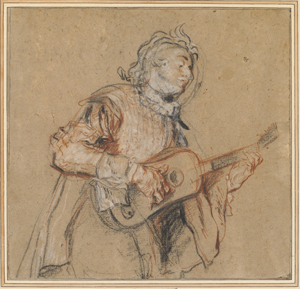 Jean Antoine Watteau's Man Playing the Guitar (private collection/Morgan Library, 1717–1718)