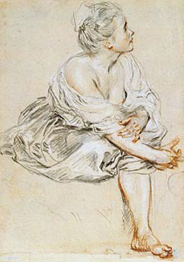 Jean Antoine Watteau's Seated Young Woman (Morgan Library, c. 1716)