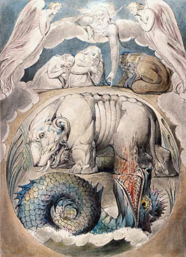 William Blake's Behemoth and Leviathan from the Book of Job (Morgan Library, c. 1805–1810)